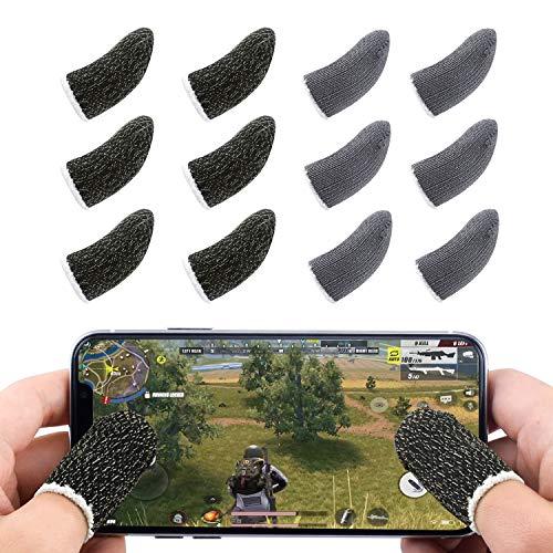 Newseego PUBG Mobile Game Controller für Finger, Touchscreen-Finger-Schutzhülle Atmungsaktiv Schweißempfindlich Schießen und Zieltasten für Überlebensregeln/Messer Out für Android und iOS [12er-Pack]