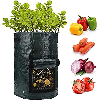 ANPHSIN 2 Pack 10 Gallon Potato Grow Bags with Flap and Handles -Fabric Plant Planter Pots for Tomato Planting Vegetable Growing Outdoor Container from ANPHSIN