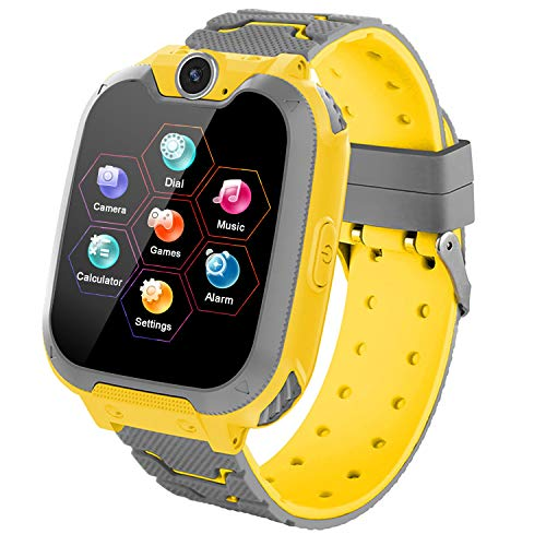 Kids Games Smartwatch Phone - 1.44'' HD Touch Screen Boys Girls Watch with MP3 Player 2 Way Call Camera Clock Voice-Record Calculator for Students Back to School Learning Birthday Gifts, Yellow