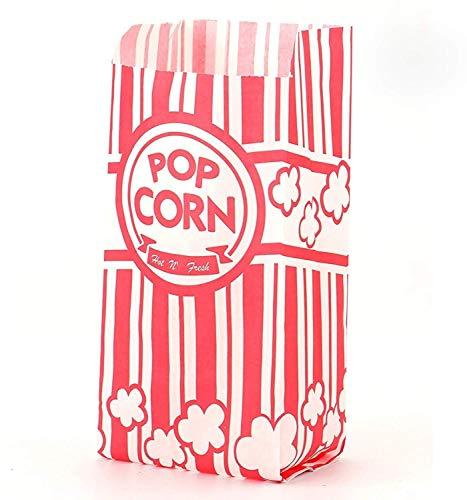 Tebery 200 Stück Popcorn Tüte,Papiertüten Partytüte Rot-Weiß Gestreift Größe: 8.9 x 6.35 x 21cm