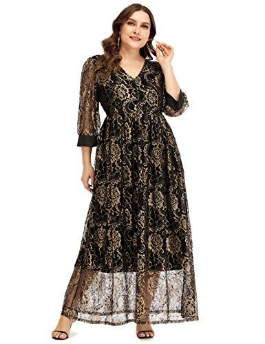 Jhichic Women's Plus Size Guipure Lace Overlay Maxi Dress Empire Waist 3/4 Sleeve Evening Party Dresses Formal (Black, XL)