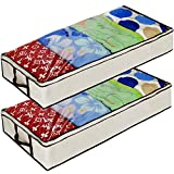Ziz Home Zippered Under Bed Storage Bag 2 Pack | Soft Breathable Anti-Mold Fabric | Used for Underbed Clothes Storage Linen Storage Blanket Storage Sweater Storage Duvet Storage Bins Clear Window