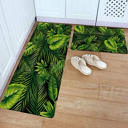"""Anti Fatigue Kitchen Mat Set of 2 Non Slip Thick Cushioned Kitchen Rug Sets with Runner Heavy Duty Comfort Standing Mats Waterproof Kitchen Carpet Green Leaf Tropical Palm Leaves (18""""x30""""+18""""x59"""")"""