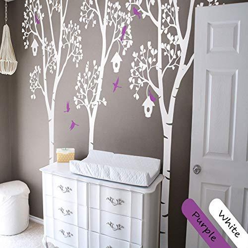 shiyueNB witte berk muur Stickers met vogels en vogelhuisje Vinyl muurstickers voor kinderen kamer baby kinderkamer Decor muur Tattoo 240cm tall 2