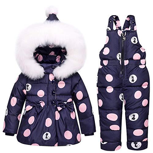 SANMIO Kinder Schneeanzug 2tlg Mädchen Jungen Daunenjacke mit Künstliches Fell Kaputze und Daunenhose Bekleidungsset