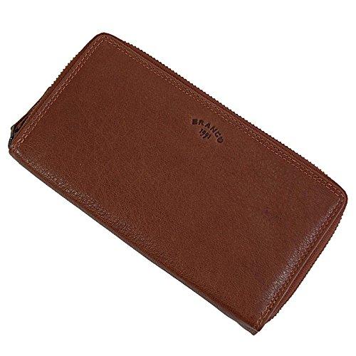 Branco Damen Geldbörse aus sportlichen Buffalo Büffel Leder Portemonnaie mit 2 umlaufenden Reißverschlüssen, Geldbeutel Reißverschlussbörse für bis zu 24 Kreditkarten (Natur)