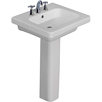 White Barclay Products 3-2018WH Caroline 550 Pedestal Lavatory for 8 Widespread