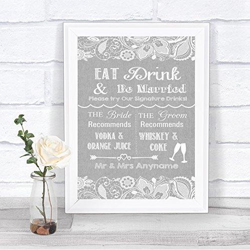 Grijze jute & kanten effect favoriete drankjes gepersonaliseerde trouwbord afdrukken Framed Oak Small Grijs