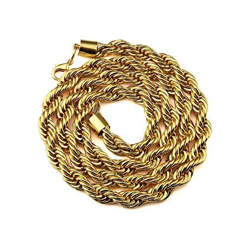 Aeici Ciondolo Acciaio Uomo Catena di Corda Collana per Uomo Oro Lungo 75 Cm