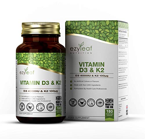 Ezyleaf Vitamin D3 4000iu & Vitamin K2 100μg Capsules | 180 High Strength Vegetarian Tablets | MK-7 Supplement for Muscle Growth & Bone Health & Strength | Clean Fillers | Gluten-Free & Non-GMO