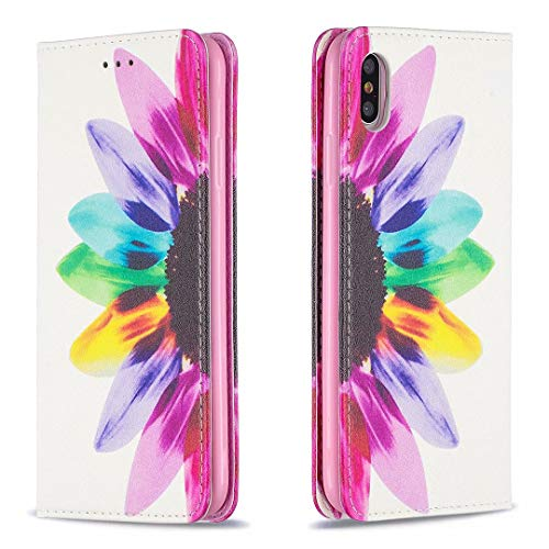 Miagon Brieftasche Hülle für iPhone X/XS,Kreativ Gemalt Handytasche Case PU Leder Geldbörse mit Kartenfach Wallet Cover Klapphülle,Sonnenblume