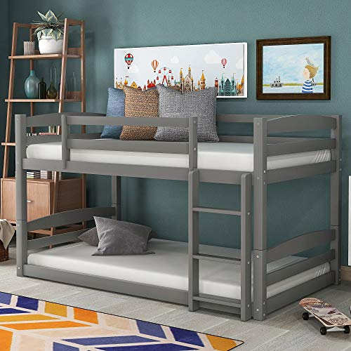 Low Bunk Beds for Kids and Toddlers, Wood Bunk Beds No Box Spring Needed (Gray Twin Over Twin Bunk Beds)