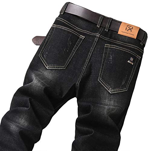 ileibmaoz Jeans Otoño Hombres S Negro Vintage Jeans Ajustados Estilo Clásico Moda Algodón Estiramiento...