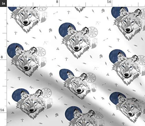 Spoonflower Fabric - Boys Boho Wolf Space Gray Animal Woodland Moon Nursery Gender Neutral Printed on Petal Signature Cotton Fabric by The Yard - Sewing Quilting Apparel Crafts Decor