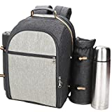 scuddles Picnic Backpack with Picnic Blanket Cooler Includes Thermos, Sppons Knives Forks Napkins Salt Pepper shakers and More