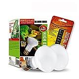 2-Pack Reptile Heat Lamp Bulb/Light, UVA Basking Spot Heat Lamp for Lizard,Tortoise,Bearded Dragon, Hedgehogs Reptiles & Amphibians with Stick-on Digital Temperature Thermometer