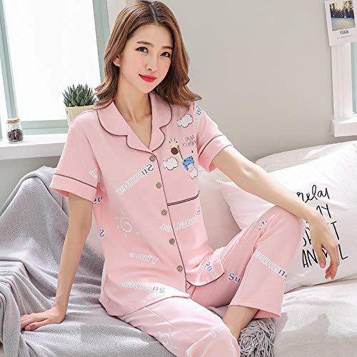 LLGG Pijama de Algodón con Estampado,Pijamas de Verano para Mujer, Traje de Servicio a Domicilio de Dos Piezas de Talla grande-XT3820_XXXL