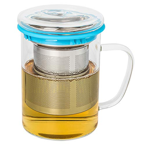 15 oz Glass Tea Cup with Lid and Stainless Steel Infuser Basket450ml Teacups Infuser Clear Tea MugBorosilicate Glass Tea Infuser Cup for Office and Home Glass TeapotsBlue