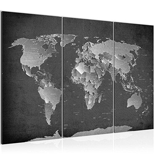 Bilder Weltkarte World Map Wandbild 120 x 80 cm Vlies - Leinwand Bild XXL Format Wandbilder Wohnzimmer Wohnung Deko Kunstdrucke Grau 3 Teilig - MADE IN GERMANY - Fertig zum Aufhängen 107631b
