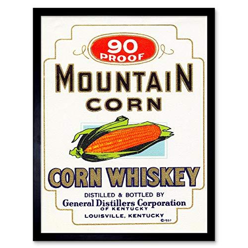 Wee Blauwe Coo Vintage Advert Alcohol Label Mountain Maïs Whiskey Art Print Ingelijste Poster Muurdecoratie 12X16 Inch