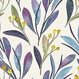 Blooming Wall DPY02 Peel&Stick Papier peint autocollant repositionnable Motif feuilles bleues et violettes avec baies jaunes