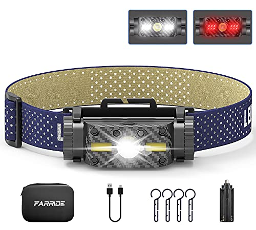 of hunting head lights dec 2021 theres one clear winner FARRIDE Rechargeable Headlamp, 1200 Lumen Ultra Bright Cree LED Headlamp with Motion Sensor, Dual-Power Systems HeadlampFlashlight with Red Light, IP65 Waterproof Head Lampfor Camping Hiking Outdoor