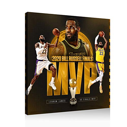 LeBron James Basketball Poster Finals Champion MVP Canvas Wall Art Print Large Size Poster (12x12inch,Frame)