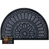 Mibao Half Round Door Mat 60 x 90 cm,Non-Slip Welcome Entrance Mat,Durable Front Heavy Duty Doormat,Dirt Trapper Rubber Door Mat Outdoor and Indoor,Grey