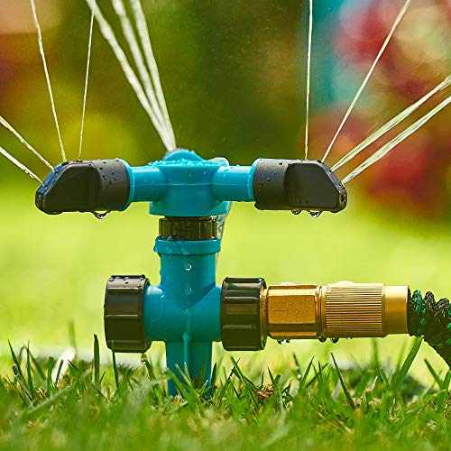 Trazon Garden Sprinklers for Yard 360 Degree Rotating, Lawn Sprinklers for Hoses, Large and Small Areas Up to 3000 Sq Ft Water Sprinkler for Lawn Plants Garden Hose Sprinklers Heavy Duty Ground Spike