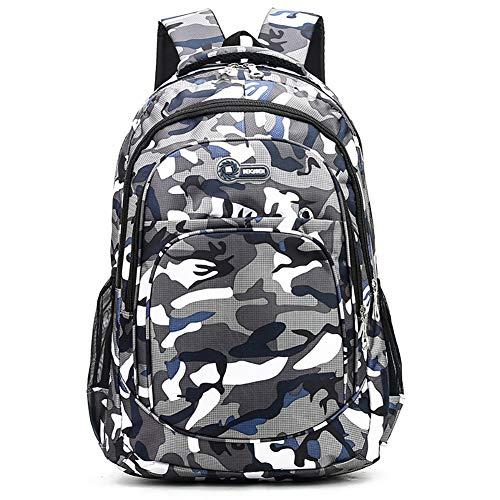 Hirkase schoolrugzak, reisrugzak, camouflage schooltas, schooltas, schoolrugzak, schoolrugzak, schoolrugzak, boekentas, wandeltas, schoolrugzak (blauw)
