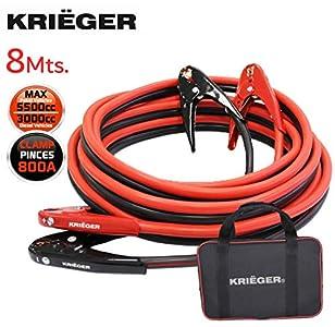 Cables de Arranque Krieger 8 Metros Pinzas 800Amp, 50mm², Ideal para Bateria de Coches, Motocicletas, Camiones Gasolina/Diesel – 8M Permite Arrancar Baterias desde la Parte Posterior del Automovil