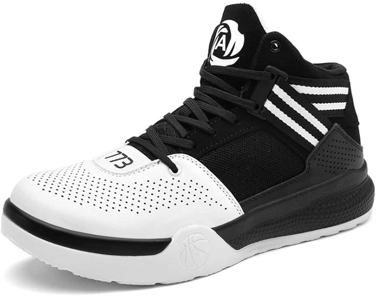 YSZDM Basketball shoes, Wear-Resistant Non-Slip High-Top Sneakers Cushioning Breathable Men'S Outdoor Boots,White,39
