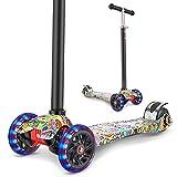 WeSkate Roller - Patinete infantil de tres ruedas con luces LED de poliuretano, altura ajustable y rueda trasera doble, ruedas grandes para niños y niñas de 3 a 12 años, Color naranja.