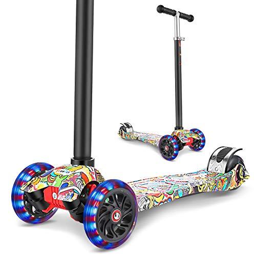 WeSkate Patinete infantil de tres ruedas con luces LED de poliuretano, altura ajustable y doble rueda trasera grande, para niños y niñas, de 3 a 12 años de edad