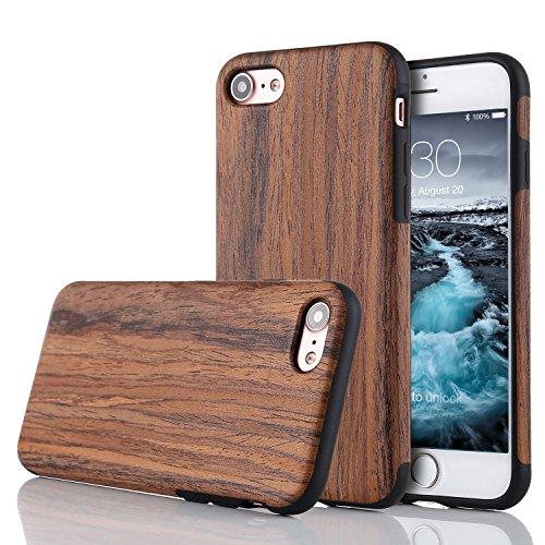 LCHULLE Kompatibel mit iPhone 7/8/SE 2020 (4.7 Zoll) Hülle Holz Schutzhülle TPU Handyhülle Premium Handmade [Holzig Rückschal] Silikon Case Back Cover Schutzhülle Lila Sandelholz