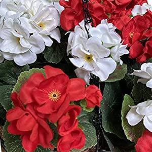 lopkey hanging basket with artificial flowers begonia wall coconut palm basket artificial hanging flower plant for outdoor patio lawn garden (red-white 12inch)silk flower arrangements