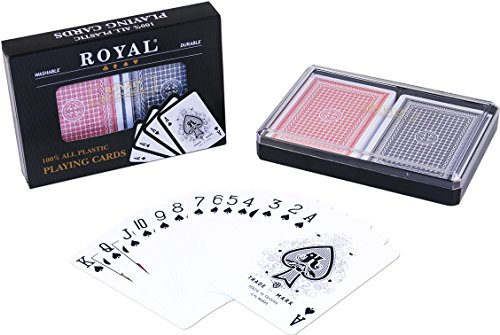 Royal Playing cards 2-Decks Poker Size Royal 100% Plastic Playing Cards Set in Plastic Case