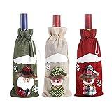 TETHYSUN 3 fundas de botellas de vino de Navidad, muñeco de nieve 3D Papá Noel botella de vino cubiertas decorativas para botellas de vino para decoraciones navideñas
