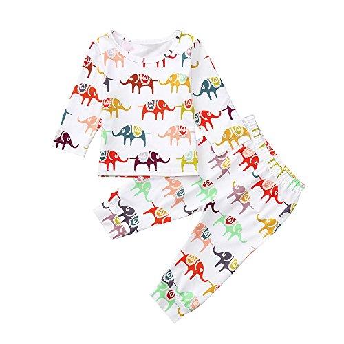 Ensemble de Vêtements Bébé CIELLTE Pyjama Pull Éléphant Multicolore T-Shirt + Pantalons Costume Deux Pièces Filles Garçons Layette Mignon