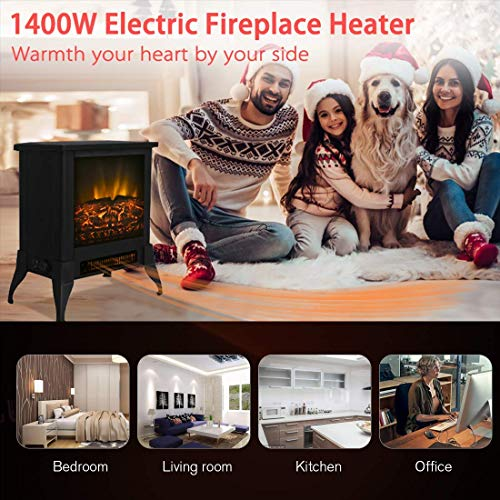 "Festival Depot Freestanding Electric Fireplace 1400W Realistic Log Flame Stove Portable Space Heater FireBox Thermostat Control Office Home Living Room Apartment Use Steel Overheat Protect (14"")"
