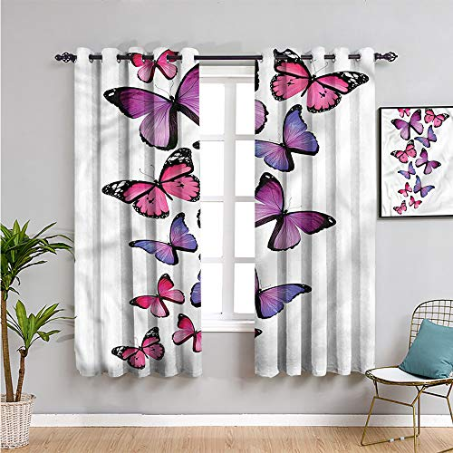 Mariposas cortina de aislamiento térmico oscurecido, cortinas de 183 cm de largo, alas de lunares coloridos, juegos de 2 paneles de 63 cm de ancho x 72 cm de largo