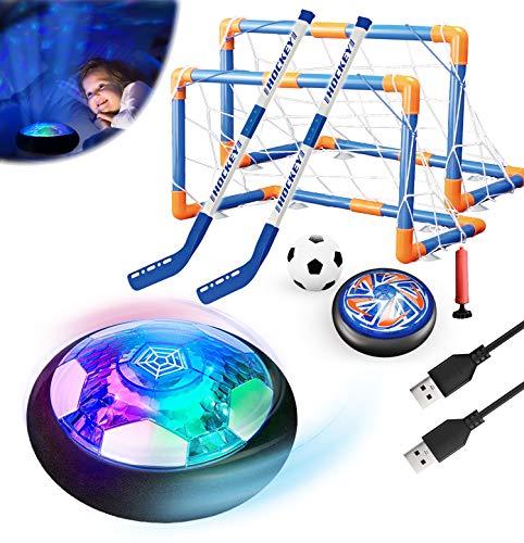 3in1 Flotante Fútbol Hockey Pelotas Juego de Juguetes para Niños Luz de LED Estrella Noche USB Recargable Aire Flotar Interior Juegos Deportivos al Libre 2 Goles EVA Bumper Regalo para 6-16 Niñas