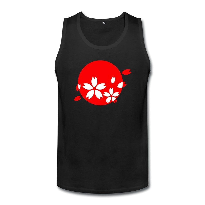 智航 メンズ 桜と国旗 タンクトップ 丸首 綿 ロゴ Uネック