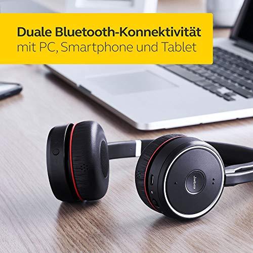 Jabra Evolve 75 Wireless On-Ear Headset – Unified Communications zertifizierte Stereo Kopfhörer mit langer Akkulaufzeit – USB Bluetooth Adapter – Schwarz