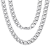 Mens Neck Chains Thick Cuban Link Necklace 9mm 20inches Choker Jewelry Silver Color