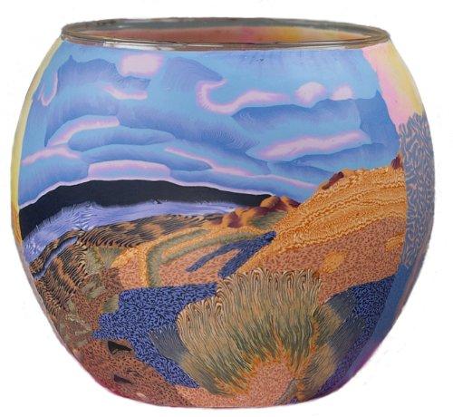 HIM Nordic Sunset Teelichthalter, Mehrfarbig, 11 x 11 x 9 cm