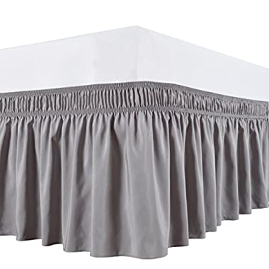 Biscaynebay Wrap Around Bed Skirt, Elastic Dust Ruffle, Easy Fit,Wrinkle and Fade Resistant Durable Fabric, Silver Grey, King Size