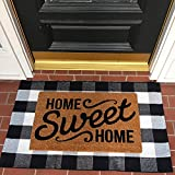 MUBIN Cotton Buffalo Plaid Rug Black/White Check Rugs 27.5 x 43 Inches Hand-Woven Indoor or Outdoor...