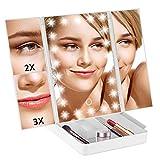 TRUSTLIFE Espejo de Maquillaje Plegable con 22 Luces LED 1x 2x 3x Espejos de Tocador de Aumento Espejo Cosmético Portátil Iluminado Regulable