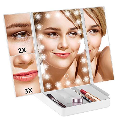 TRUSTLIFE Espejo Maquillaje con Luz Plegable con 22 Luces LED, 3 x 2 x 1 x Espejo de Aumento de la Vanidad Regulable Iluminado Portátil Espejo Cosmético Blanco